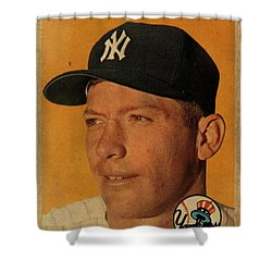 1958 Topps Baseball Mickey Mantle Card Vintage Poster Shower Curtain by Design Turnpike