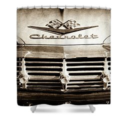 Shower Curtain featuring the photograph 1959 Chevrolet Impala Grille Emblem -1014s by Jill Reger