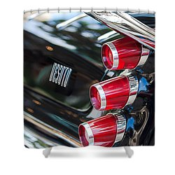 Shower Curtain featuring the photograph 1959 Desoto Adventurer Hardtop Coupe 2-door Taillight Emblem by Jill Reger