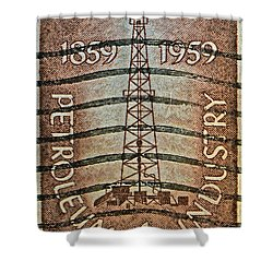 1959 First Oil Well Stamp Shower Curtain