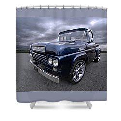 1959 Ford F100 Dark Blue Pickup Shower Curtain by Gill Billington