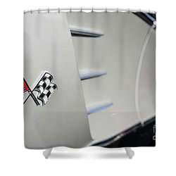 Shower Curtain featuring the photograph 1960 Black And Grey Corvette Side Shot by Aloha Art