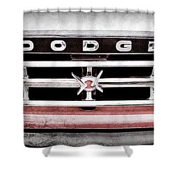 Shower Curtain featuring the photograph 1960 Dodge Truck Grille Emblem -0275ac by Jill Reger