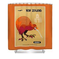 1960 Qantas New Zealand Kiwi Travel Poster Shower Curtain