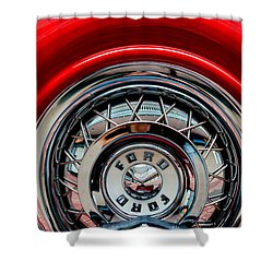 Shower Curtain featuring the photograph 1958 Ford Crown Victoria Wheel by M G Whittingham