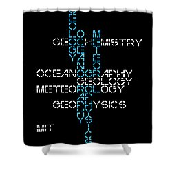 Shower Curtain featuring the mixed media 1960s M. I. T. Graduate Study Programs by Daniel Hagerman