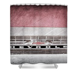Shower Curtain featuring the photograph 1961 Chevrolet Corvair Pickup Truck Grille Emblem -0130ac by Jill Reger