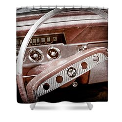 Shower Curtain featuring the photograph 1961 Chevrolet Impala Ss Steering Wheel Emblem -1156ac by Jill Reger
