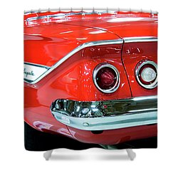 Shower Curtain featuring the photograph 1961 Classic Red Chevrolet Impala by Tyra OBryant