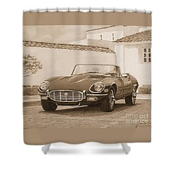 1961 Jaguar Xke Cabriolet In Sepia Shower Curtain