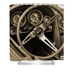 1963 Chevrolet Corvette Steering Wheel - Sepia Shower Curtain