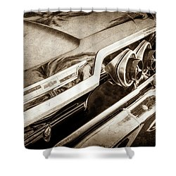 Shower Curtain featuring the photograph 1963 Chevrolet Taillight Emblem -0183s by Jill Reger