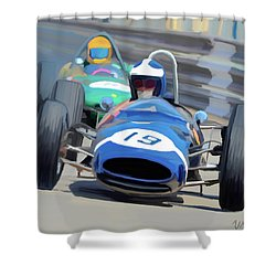 1963 Cooper T66 Coming Out Of Monaco's Mirabeau Shower Curtain by Wally Hampton