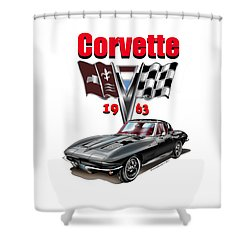 Shower Curtain featuring the mixed media 1963 Corvette With Split Rear Window by Thomas J Herring