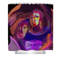 Shower Curtain featuring the digital art 1963 - Pandoras Magic Box 2017 by Irmgard Schoendorf Welch