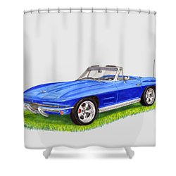 Shower Curtain featuring the painting 1964 Corvette Stingray by Jack Pumphrey