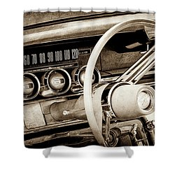Shower Curtain featuring the photograph 1964 Ford Thunderbird Steering Wheel -0280s by Jill Reger