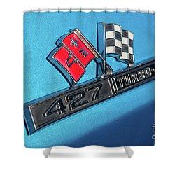 Shower Curtain featuring the photograph 1965 Blue Corvette 427 Turbo Jet Emblem by Aloha Art