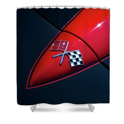 Shower Curtain featuring the photograph 1965 Corvette Hood by Joel Witmeyer