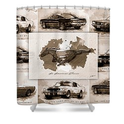 1965 Ford Mustang Collage I Shower Curtain by Gary Bodnar