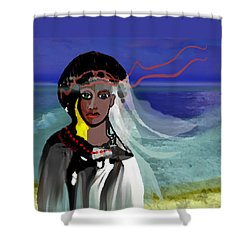 Shower Curtain featuring the digital art 1965 - Walk On The Oceanside by Irmgard Schoendorf Welch
