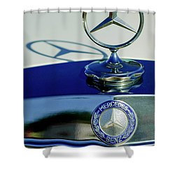 1965 Mercedes 220 Se Cabriolet Hood Ornament Shower Curtain by Jill Reger