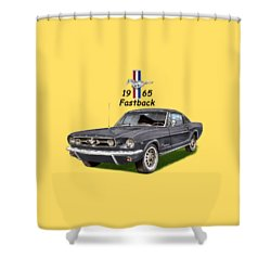 1965 Mustang Fastback Shower Curtain by Jack Pumphrey