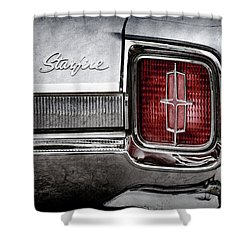 Shower Curtain featuring the photograph 1965 Oldsmobile Starfire Taillight Emblem -0212ac by Jill Reger