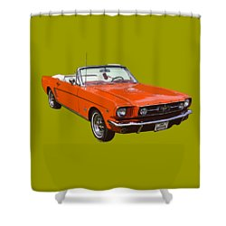1965 Red Convertible Ford Mustang - Classic Car Shower Curtain