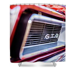 Shower Curtain featuring the photograph 1965 Red Gto Grill by Aloha Art