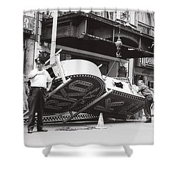 Shower Curtain featuring the photograph 1965 Removing Rko Theater Sign Boston by Historic Image