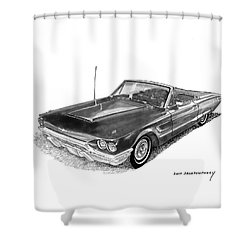 1965 Thunderbird Convertible By Ford Shower Curtain by Jack Pumphrey