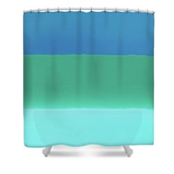 1966 Bands In Blues And Greens Shower Curtain