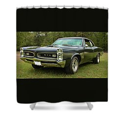 Shower Curtain featuring the photograph 1966 Black Gto by Daniel Adams