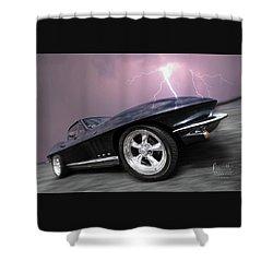 1966 Corvette Stingray With Lightning Shower Curtain
