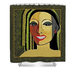 Shower Curtain featuring the digital art 1966 - Lady With Beautiful Teeth by Irmgard Schoendorf Welch
