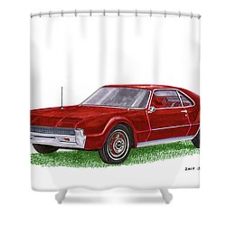 Shower Curtain featuring the painting 1966 Oldsmobile Toronado by Jack Pumphrey