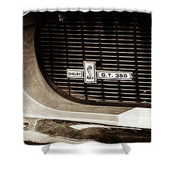 Shower Curtain featuring the photograph 1967 Ford Gt 350 Shelby Clone Grille Emblem -0759s by Jill Reger