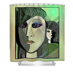 Shower Curtain featuring the digital art 1968 - A Dolls Head by Irmgard Schoendorf Welch