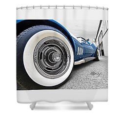 1968 Corvette White Wall Tires Shower Curtain