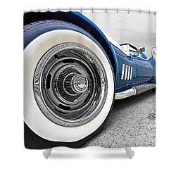 1968 Corvette White Wall Tires Shower Curtain by Gill Billington