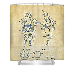 1968 Hard Space Suit Patent Artwork - Vintage Shower Curtain by Nikki Marie Smith