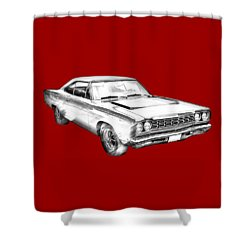 1968 Plymouth Roadrunner Muscle Car Illustration Shower Curtain