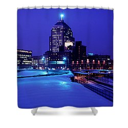 Shower Curtain featuring the photograph  1969 Boston Twilight by Historic Image