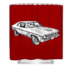 1969 Chevrolet Nova Yenko 427 Muscle Car Illustration Shower Curtain