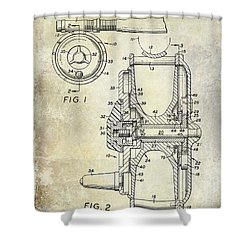 1969 Fly Reel Patent Shower Curtain