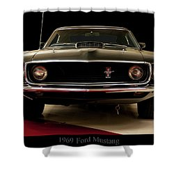 Shower Curtain featuring the digital art 1969 Ford Mustang by Chris Flees