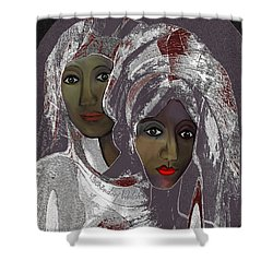 Shower Curtain featuring the digital art 1969 -  White Veils by Irmgard Schoendorf Welch