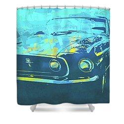 1969 Mustang Mach 1 Blue Pop Shower Curtain