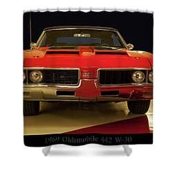 Shower Curtain featuring the photograph 1969 Oldsmobile 442 W-30 by Chris Flees